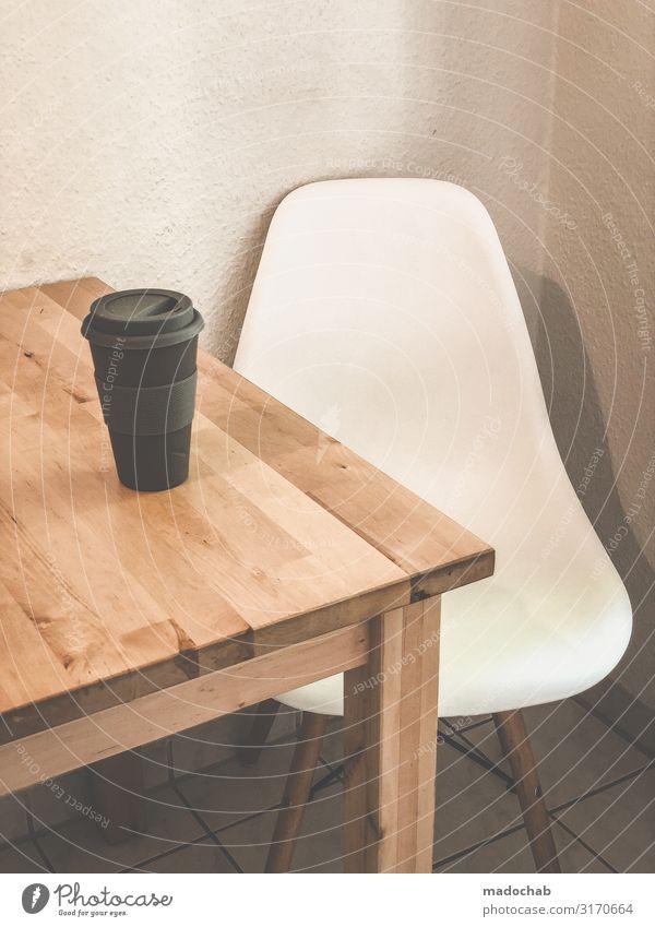 Coffee to go Stillleben in einem Bett aus Raufaser (Mehrweg) Erholung ruhig Innenarchitektur Häusliches Leben Wohnung Dekoration & Verzierung Ordnung Tisch