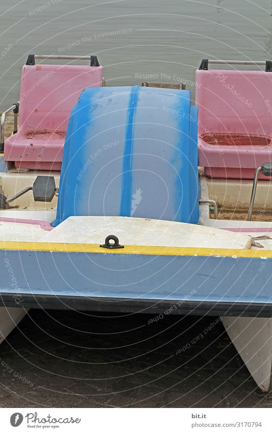 Sitze eines Tretboots, auf dem Gardasee. Erholung ruhig Freizeit & Hobby Angeln Ferien & Urlaub & Reisen Tourismus Ausflug Abenteuer Freiheit Sommer