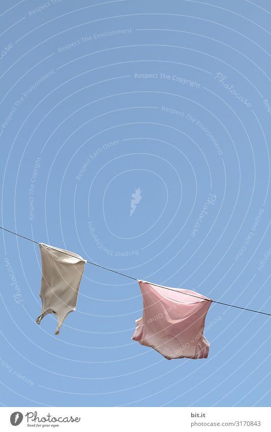 Das rosa Shirt spricht zum weißen Unterhemd, ich bin nicht richtig festgeklemmt. Rumgewickelt wurd ich um die Schnur, was meint dazu der Himmel nur? Der leuchtet blau, die Sonne steht schon steil, auf das aufgehängte Seil.