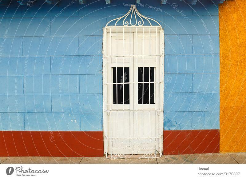 blaue und gelbe Fassade , trinidad - kuba Lifestyle Leben Ferien & Urlaub & Reisen Tourismus Ausflug Insel Haus Dekoration & Verzierung Kunst Dorf Kleinstadt