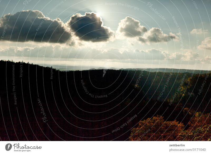 Polenztal Himmel Ferien & Urlaub & Reisen Himmel (Jenseits) Landschaft Sonne Erholung Wolken Wald Ferne Berge u. Gebirge Herbst Textfreiraum Felsen Horizont