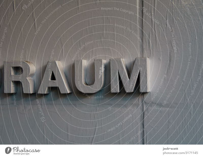 RAUM Design Wand Dekoration & Verzierung Wort Großbuchstabe Typographie einfach grau Qualität dreidimensional beklebt Oberflächenstruktur Reaktionen u. Effekte