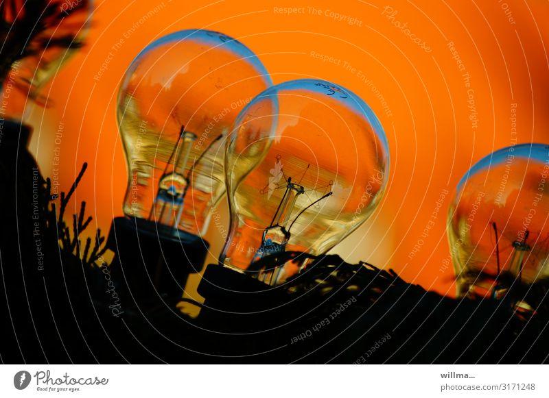 glühweinbirnen Beleuchtung orange Energiewirtschaft Technik & Technologie Elektrizität Glühbirne Glühdraht