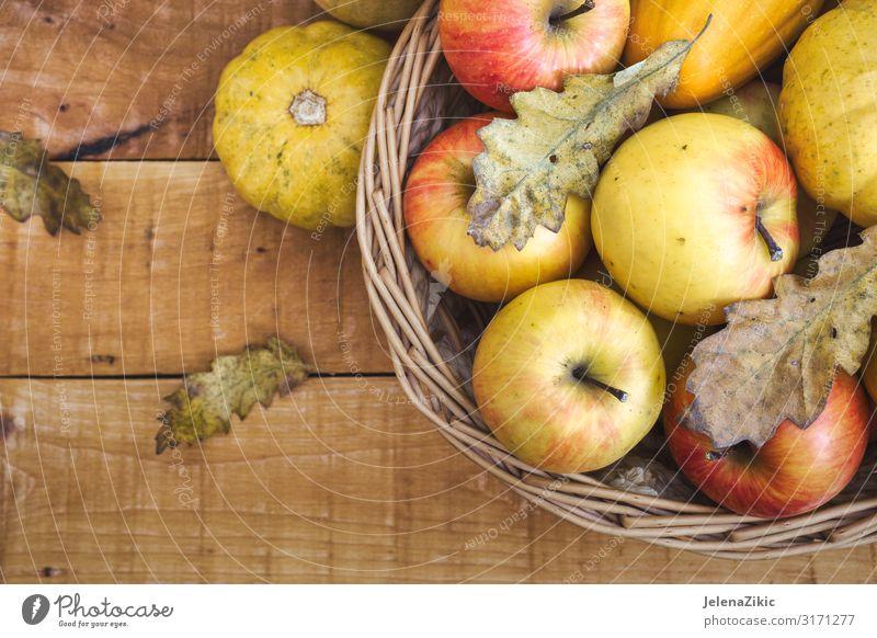 Korb mit frischen Bio-Früchten Lebensmittel Frucht Apfel Dessert Ernährung Essen Bioprodukte Saft Sommer Garten Tisch Gartenarbeit Natur Herbst Blatt Holz