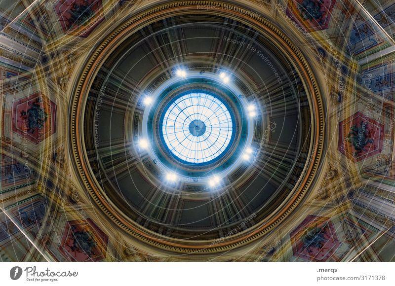 Kuppel Kuppeldach Ornament alt historisch rund schön Stimmung ästhetisch Perspektive Irritation Kreis Symmetrie hypnotisch bemalt Palast Doppelbelichtung