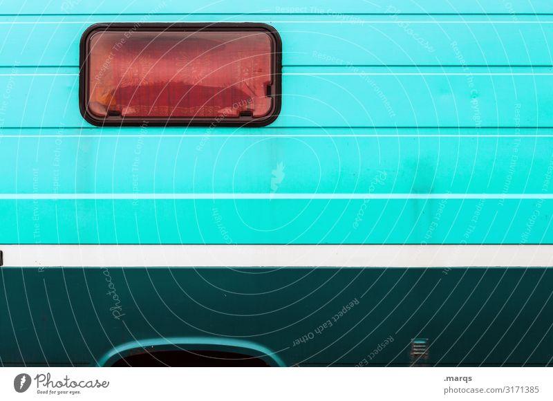 Bus Freizeit & Hobby Ferien & Urlaub & Reisen Abenteuer Camping Fenster Wohnmobil Wohnwagen Linie außergewöhnlich grün rot türkis weiß Design Farbe Farbfoto