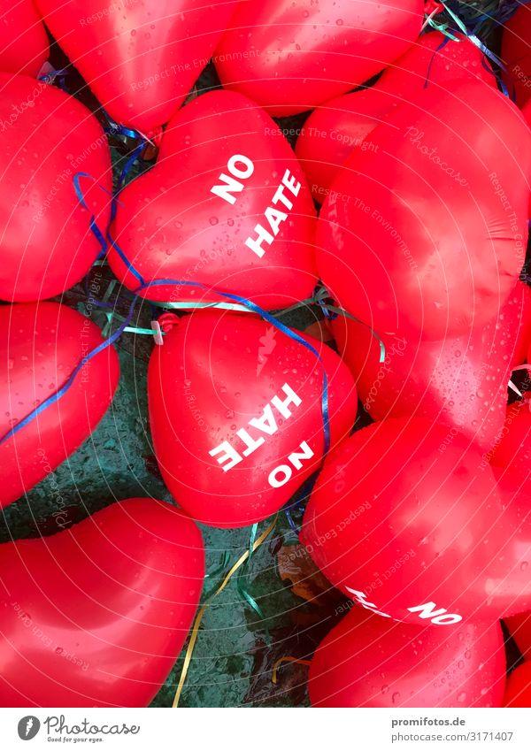 """Red balloons """"NO HATE"""" in the autumn Wohlgefühl Zufriedenheit Schriftzeichen fliegen Unendlichkeit rot Schutz Gastfreundschaft Solidarität Hass Luftballon"""