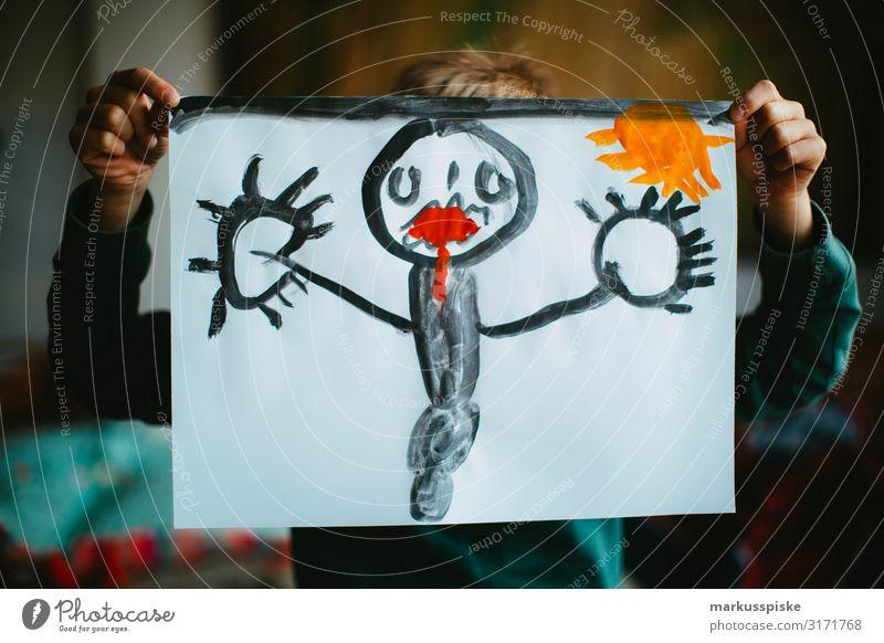 Malerei Wasserfarben Freizeit & Hobby Spielen malen Zeichnung Kunst Kunstwerk mehrfarbig Papier Gemälde Kreativität Junge Kindheit Hand Finger 1 Mensch