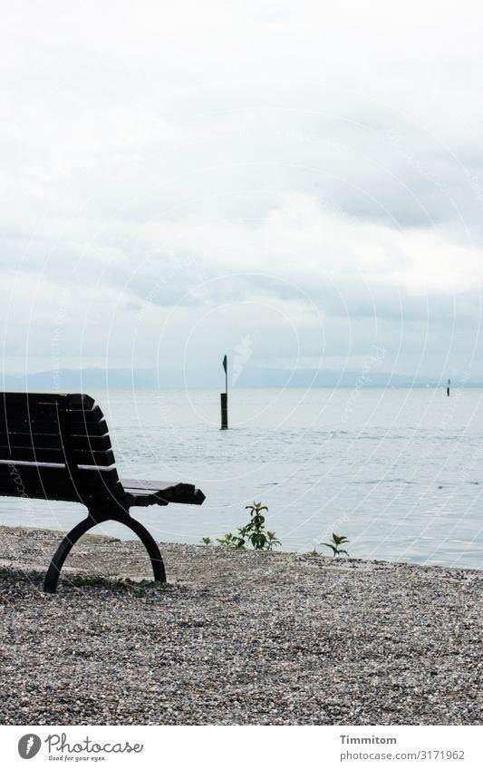 Nasse Bank in Konstanz Ferien & Urlaub & Reisen Umwelt Natur Urelemente Wasser Wetter Regen Seeufer Bodensee warten nass blau grau grün schwarz Gefühle Pause