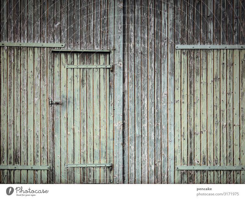 strukturwandel Hütte Gebäude Fassade Tür Senior ruhig Schutz Holzwand Holzhaus Holzbrett Bauernhof Scheune grün verwittert geschlossen Strukturen & Formen