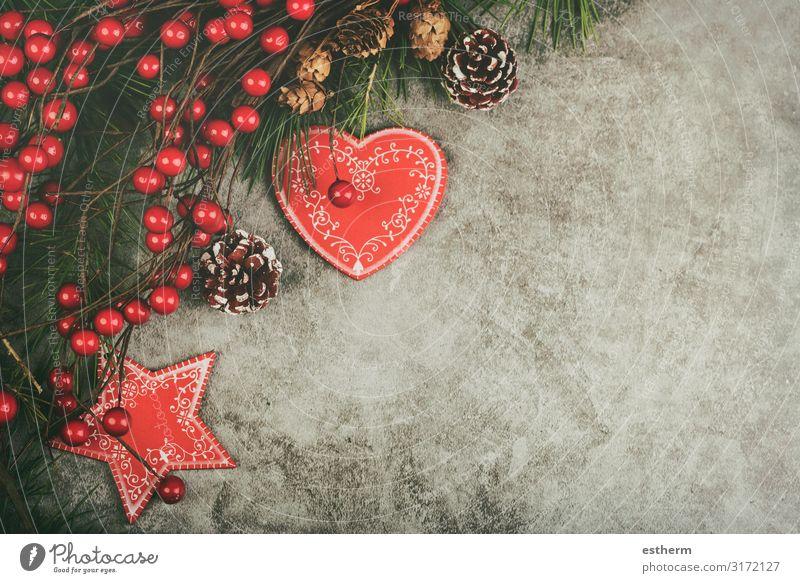 Hintergrund des Weihnachtskonzeptes Lifestyle Winter Schnee Dekoration & Verzierung Tisch Feste & Feiern Weihnachten & Advent Silvester u. Neujahr Ornament Herz
