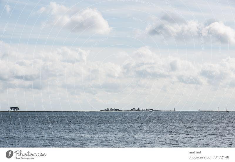 Schleimünde 2 Landschaft Wasser Himmel Wolken Herbst Schönes Wetter Baum Küste Ostsee Haus Turm Leuchtturm Schifffahrt Sportboot Segelboot Hafen blau grau weiß
