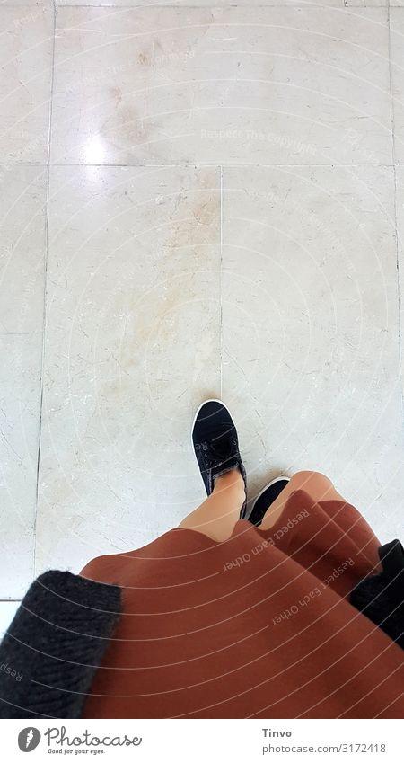 Step by step feminin Frau Erwachsene Beine 1 Mensch Bekleidung Kleid Jacke Schuhe gehen braun schwarz Marmorboden Museum Einkaufszentrum schreiten Farbfoto