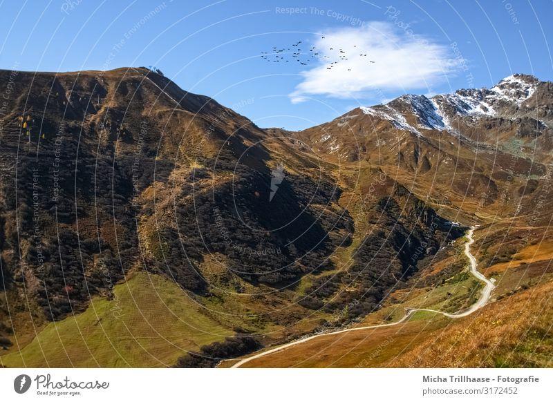 Berge und Täler in den österreichischen Alpen Ferien & Urlaub & Reisen Tourismus Schnee Berge u. Gebirge Natur Landschaft Himmel Wolken Sonnenlicht Herbst
