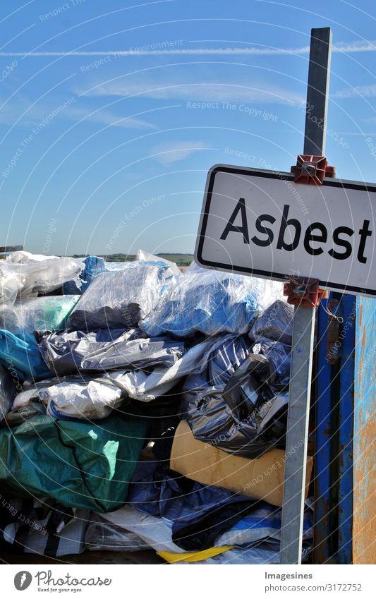 Asbest Silikat-Mineral Müllhalde Umwelt Natur Klima Gift giftig Zeichen Schriftzeichen Schilder & Markierungen Hinweisschild Warnschild gefährlich bedrohlich