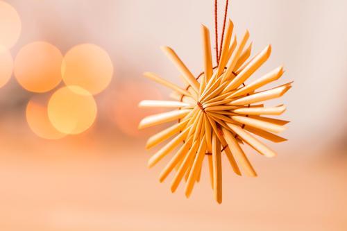 Strohstern Design Postkarte Weihnachten & Advent Dekoration & Verzierung Stern (Symbol) Weihnachtsstern hängen leuchten niedlich weich braun orange Gefühle