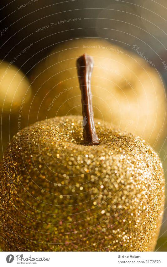 Weihnachtsdekoration Postkarte Buchcover Feste & Feiern Weihnachten & Advent Dekoration & Verzierung Glitzerapfel Gold glänzend leuchten Kitsch Stimmung