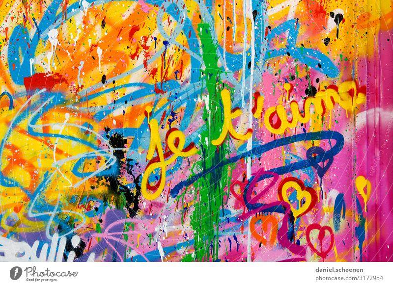 je t´aime Glück Kunst Gemälde Jugendkultur Zeichen Schriftzeichen Graffiti Herz Fröhlichkeit trendy blau mehrfarbig gelb grün violett orange rosa rot Gefühle