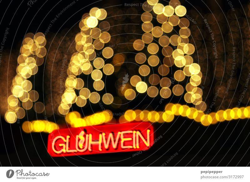 Glühwein Weihnachten & Advent rot Baum schwarz Feste & Feiern Linie gold Schriftzeichen Getränk trinken Kugel Bar Alkohol Ornament Nachtleben Weihnachtsmarkt