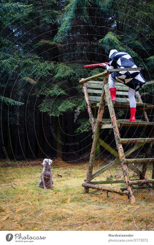 Weidmannsheil Lifestyle Stil Freude Jagd Ausflug Mensch feminin Junge Frau Jugendliche Erwachsene Regen Gras Wiese Wald Mode Mantel Regenschirm Gummistiefel