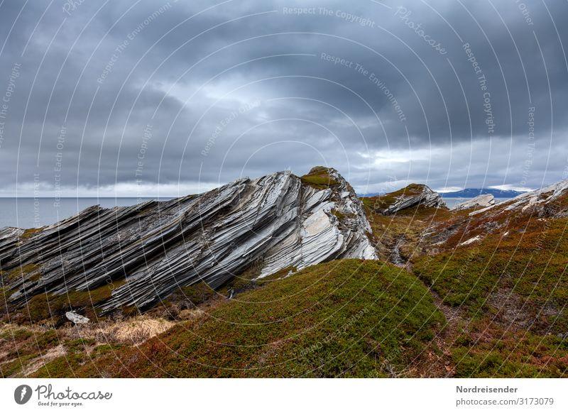 Küste an der Barentssee Himmel Ferien & Urlaub & Reisen Natur Wasser Landschaft Meer Wolken Ferne Tourismus Stein Felsen Regen Urelemente Moos maritim