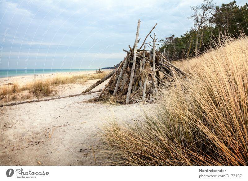 Weststrand Himmel Ferien & Urlaub & Reisen Natur Wasser Landschaft Meer Erholung Wolken ruhig Strand Küste Gras Sand wild Insel Urelemente