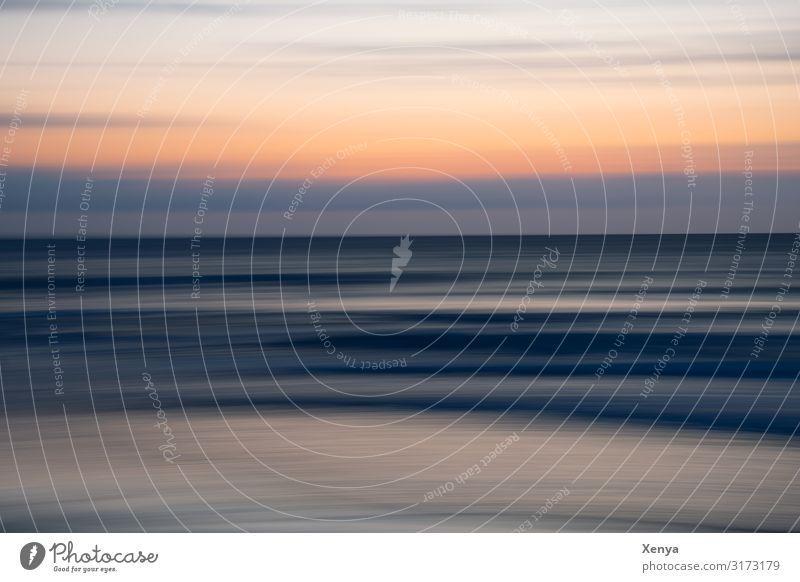 Verwischt Himmel blau Wasser Meer Strand schwarz Küste orange grau Abenddämmerung Nordsee
