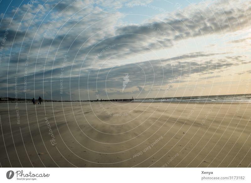 Strand am Meer Strandspaziergang Meereslandschaft Wolkenhimmel Urlaubsort Sommerferien Wind Ferien & Urlaub & Reisen Außenaufnahme Natur Sand Wasser Tourismus