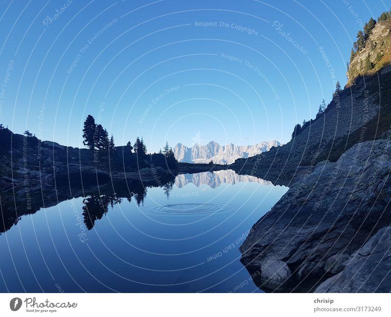 2x Dachstein Umwelt Natur Landschaft Himmel Wolkenloser Himmel Schönes Wetter Baum Felsen Alpen Berge u. Gebirge Gipfel Seeufer Spiegelsee nass blau