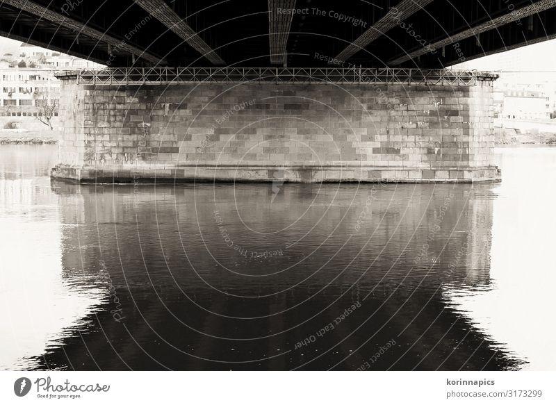 Nibelungenbrücke Linz / Donau Linz (Donau) Österreich Europa Stadt Stadtzentrum Menschenleer Brücke Bauwerk Architektur Brückenpfeiler Denkmal Verkehr