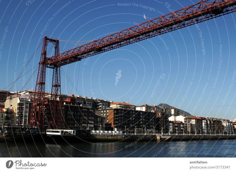 Puente de Vizcaya Brücke schwebefähre Ferien & Urlaub & Reisen rot aussichtspunkt pfeiler stahlgerüst Blauer Himmel sonne Wetter Ausflug Spanien