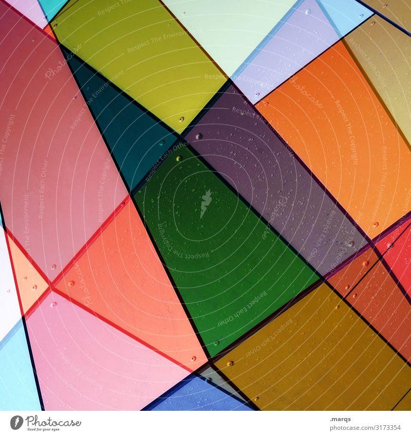 Bunte Fassade abstrakt bunt Fläche linien doppelbelichtung Grafik u. Illustration anders Kreativität Irritation verwirrung Design Stil trendy modern