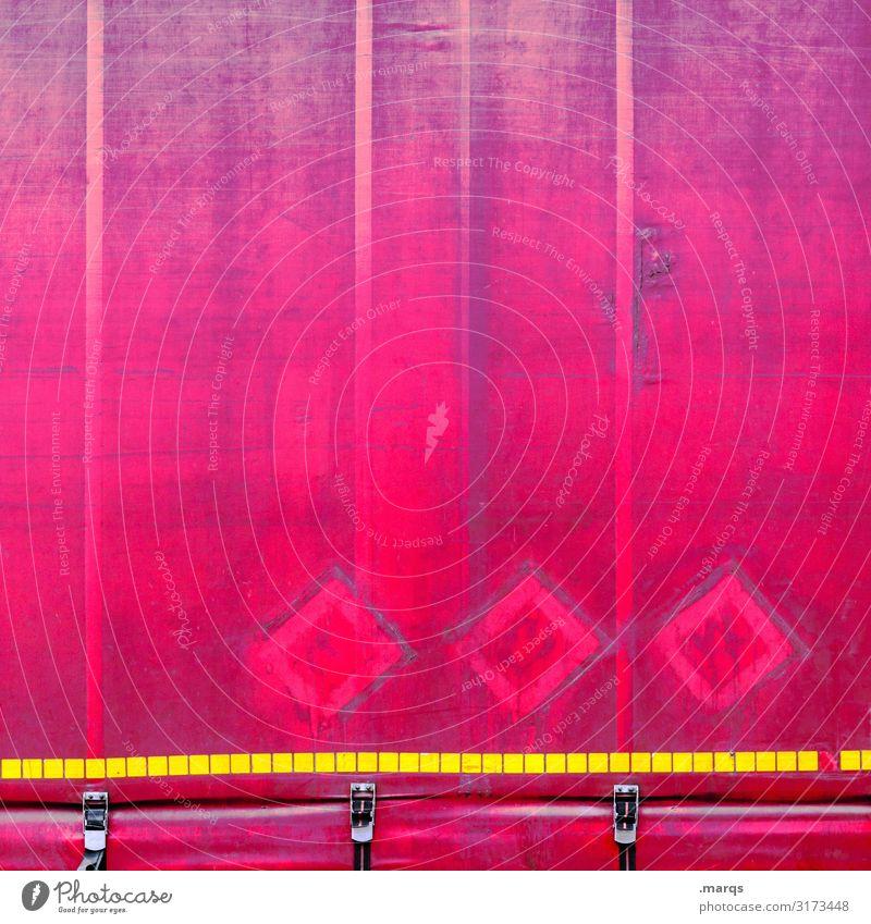 Verpackung rosa Linie verrückt Güterverkehr & Logistik Dienstleistungsgewerbe Wirtschaft Mobilität Lastwagen Verkehrsmittel Anhänger Abdeckung Mittelstand