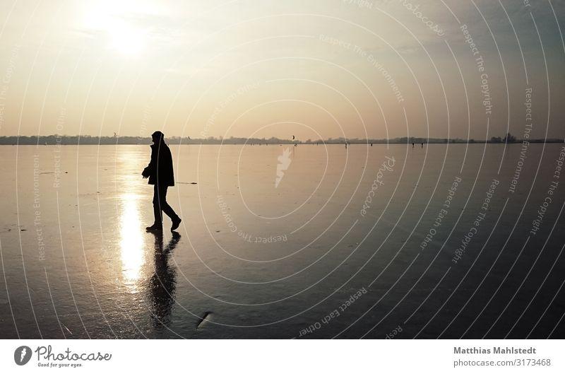 Auf dünnem Eis Winter Schlittschuhlaufen Mensch maskulin Mann Erwachsene 1 Umwelt Natur Landschaft Himmel Schönes Wetter Frost See Farländer See Potsdam