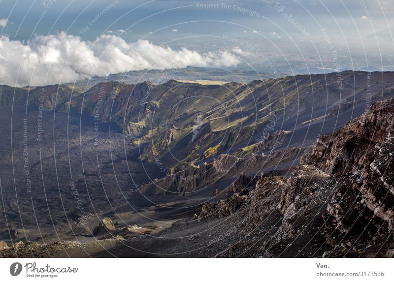 Lava, Alter! Natur Landschaft Himmel Wolken Sonnenlicht Herbst Schönes Wetter Moos Felsen Berge u. Gebirge Vulkan Ätna Bergkamm Berghang Lavafeld Sizilien