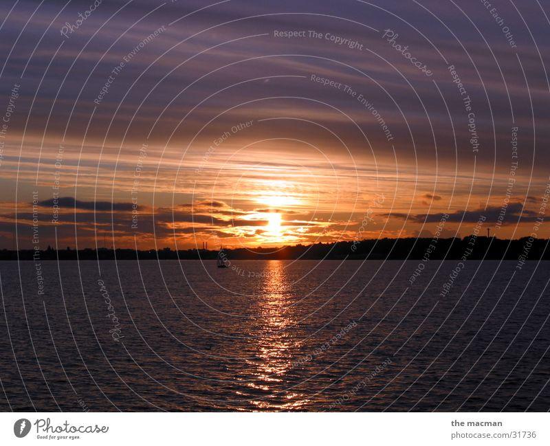 Kieler Förde Sonnenuntergang Romantik Ostsee Abenddämmerung