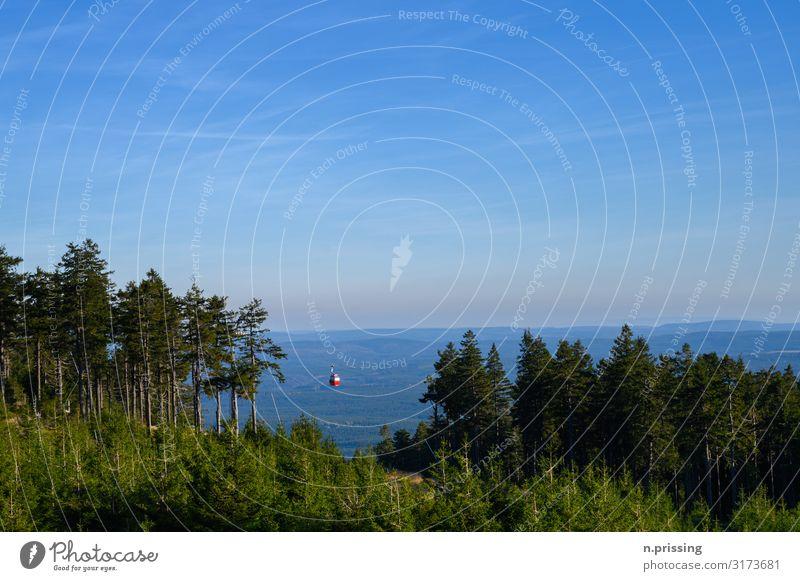 Wurmberg Seilbahn Natur Landschaft Wolkenloser Himmel Horizont Herbst Schönes Wetter Wald Felsen Berge u. Gebirge Brocken Schneebedeckte Gipfel Skilift Idylle