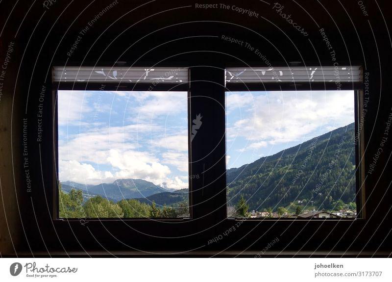 Fenster mit Aussicht Landschaft Himmel Wolken Schönes Wetter Alpen Berge u. Gebirge Zillertal Österreich Hütte bescheiden Ferien & Urlaub & Reisen Farbfoto