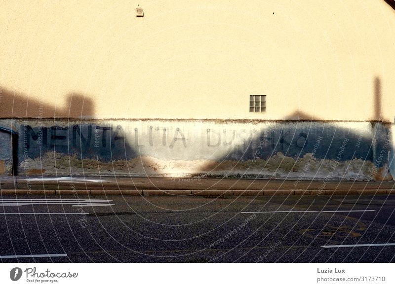 Schatten an der Wand Kleinstadt Menschenleer Mauer Straße Beton Graffiti trashig Stadt braun grau Schattenspiel Farbfoto Gedeckte Farben Außenaufnahme