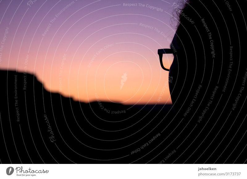 Morning has broken Mensch feminin Haare & Frisuren Gesicht 1 Wolkenloser Himmel Horizont Sonne Sonnenaufgang Sonnenuntergang Schönes Wetter Berge u. Gebirge