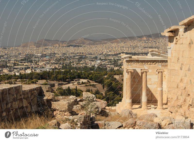 Antike Architektur Athen Griechenland Europa Hauptstadt Bauwerk Gebäude Tempel Sehenswürdigkeit Wahrzeichen Denkmal Akropolis Stein alt hell Stadt Wärme