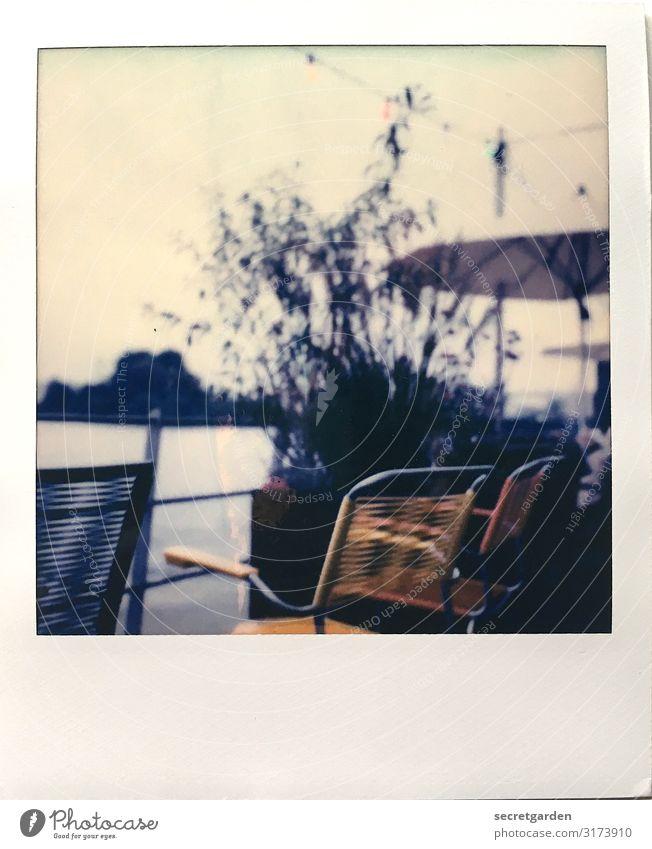 Lieblingsort an meinem Geburtstag Sommer Erholung ruhig See orange Wohnung retro Aussicht Hamburg Fluss Stuhl Wellness Sommerurlaub Möbel Flussufer Sonnenschirm