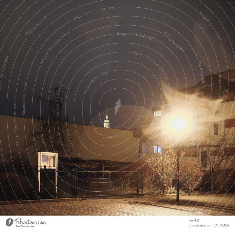 Urban Langweiling Wasser Wassertropfen Nachthimmel schlechtes Wetter Regen Baum Bautzen Deutschland Kleinstadt Stadtzentrum Haus Kirche Dom Platz Mauer Wand