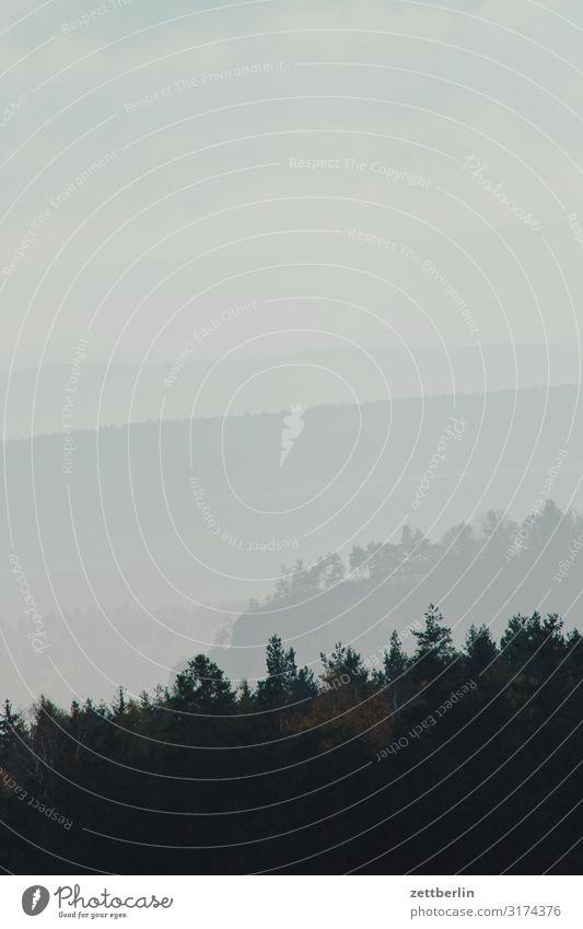Landschaft im Nebel Berge u. Gebirge Dunst Elbsandsteingebirge Erholung Felsen Ferien & Urlaub & Reisen Ferne Herbst Horizont Hügel Laubwald Sächsische Schweiz