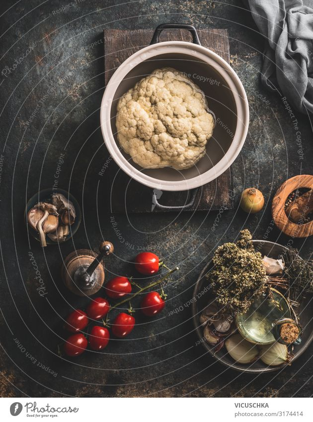 Blumenkohl in Kochtopf Lebensmittel Gemüse Ernährung Bioprodukte Vegetarische Ernährung Diät Geschirr Topf Stil Gesunde Ernährung Küche Design Hintergrundbild