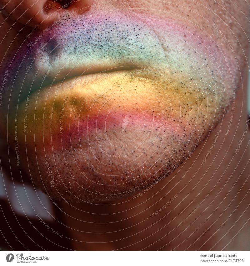 Gesicht mit einem Regenbogen auf den Lippen Mann Mensch Symbole & Metaphern Farbe mehrfarbig Regenbogenflagge Homosexualität Stolz Vielfalt Toleranz