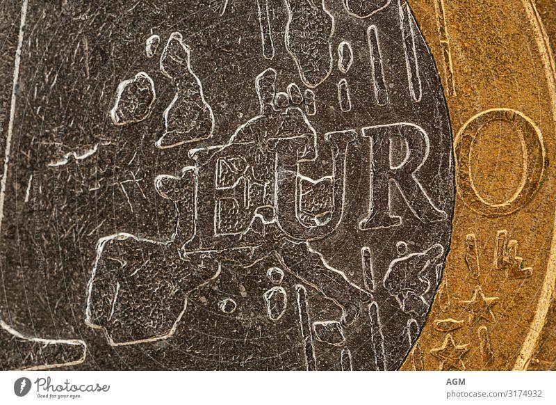 Euro Münze extreme Nahaufnahme Hintergrundbild Business grau gold Europa glänzend Kraft Erfolg Armut kaufen Geld Sicherheit Symbole & Metaphern Macht Reichtum
