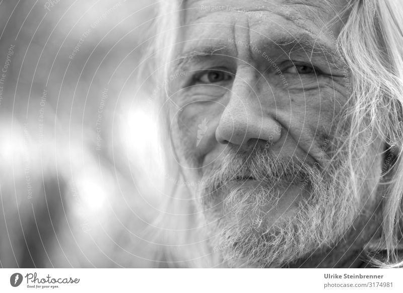 Old Hippie Mensch maskulin Mann Erwachsene Männlicher Senior Leben Kopf Haare & Frisuren Gesicht Auge Nase Bart 1 60 und älter alt beobachten Denken Lächeln
