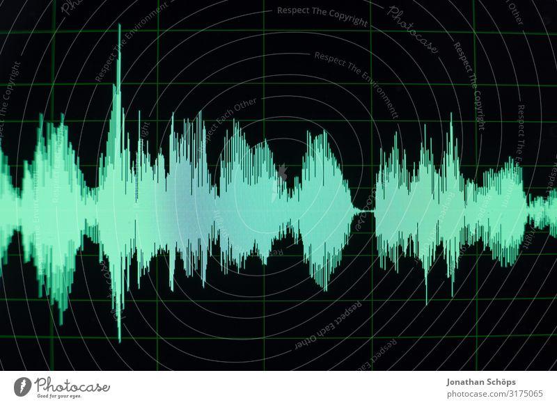 Wellenform in Software zur Audiobearbeitung für Podcast grün schwarz Kunst Musik ästhetisch Computer Internet hören Medien Bildschirm Künstler Radio Klang Ton