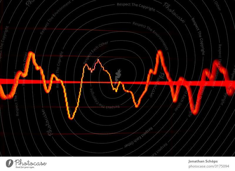 Wellenform in Software zur Audiobearbeitung für Podcast Musik Erwachsenenbildung Wirtschaft Börse Computer Bildschirm Musik hören Medien Radio rot schwarz Krise